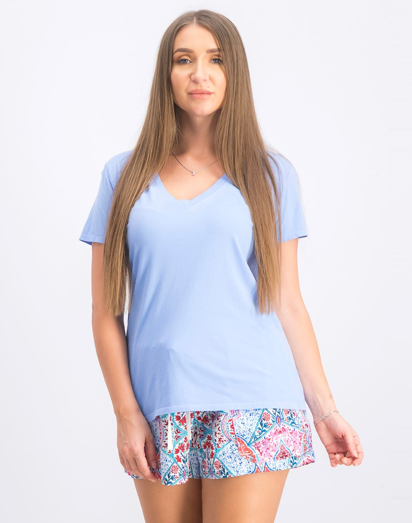 Women's V Neck Top Blouse, Blue