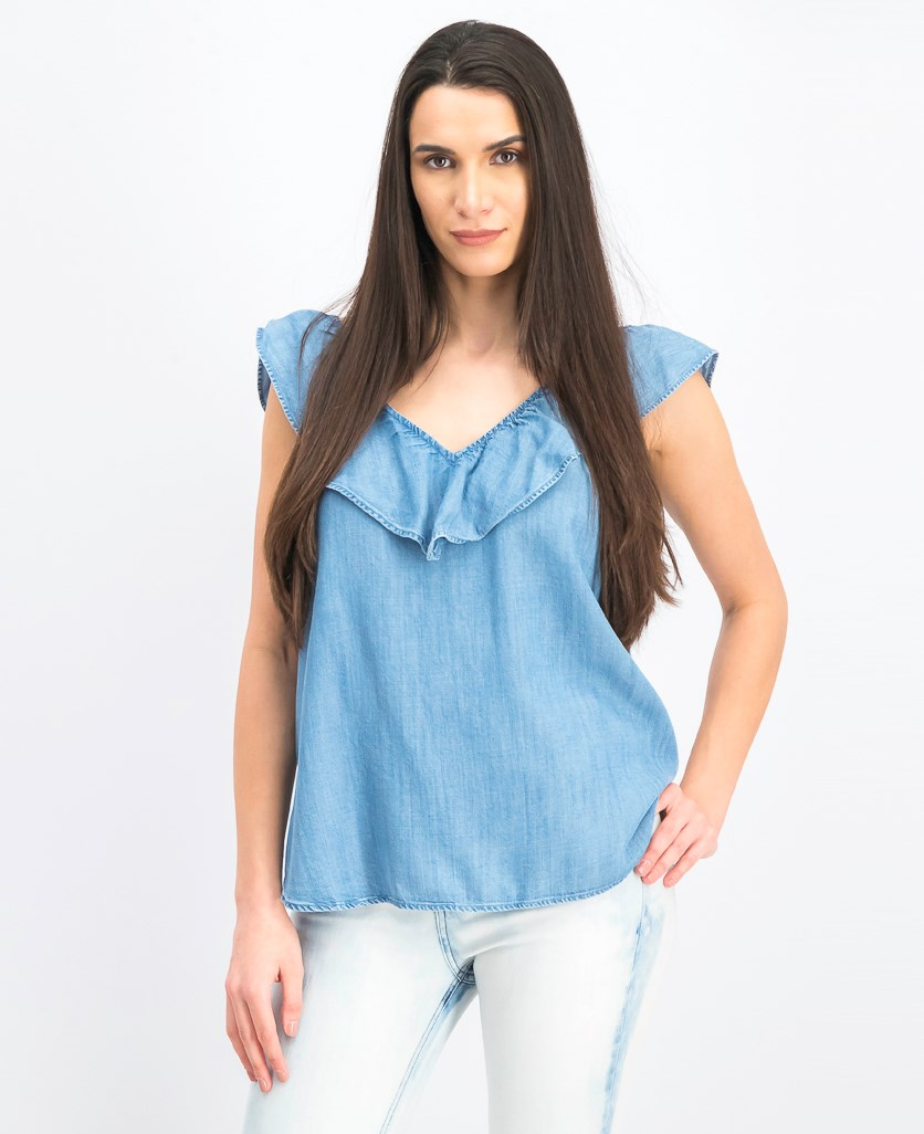 Women's V Neckline Ruffle Sleeves, Denim