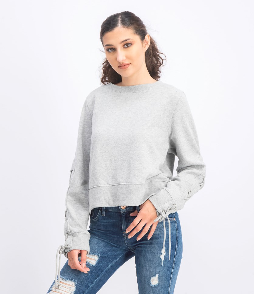 Women's Lace Up Sleeves Sweater, Heather Gray