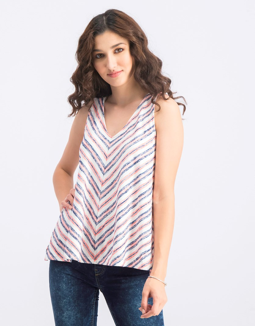 Women's Stripe Sleeveless Top, Pink/Navy