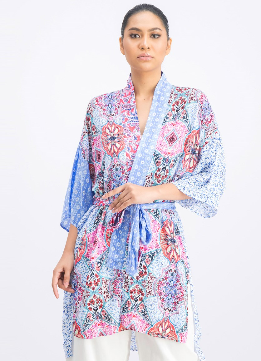 Women's Allover Printed Kimono, Blue/White