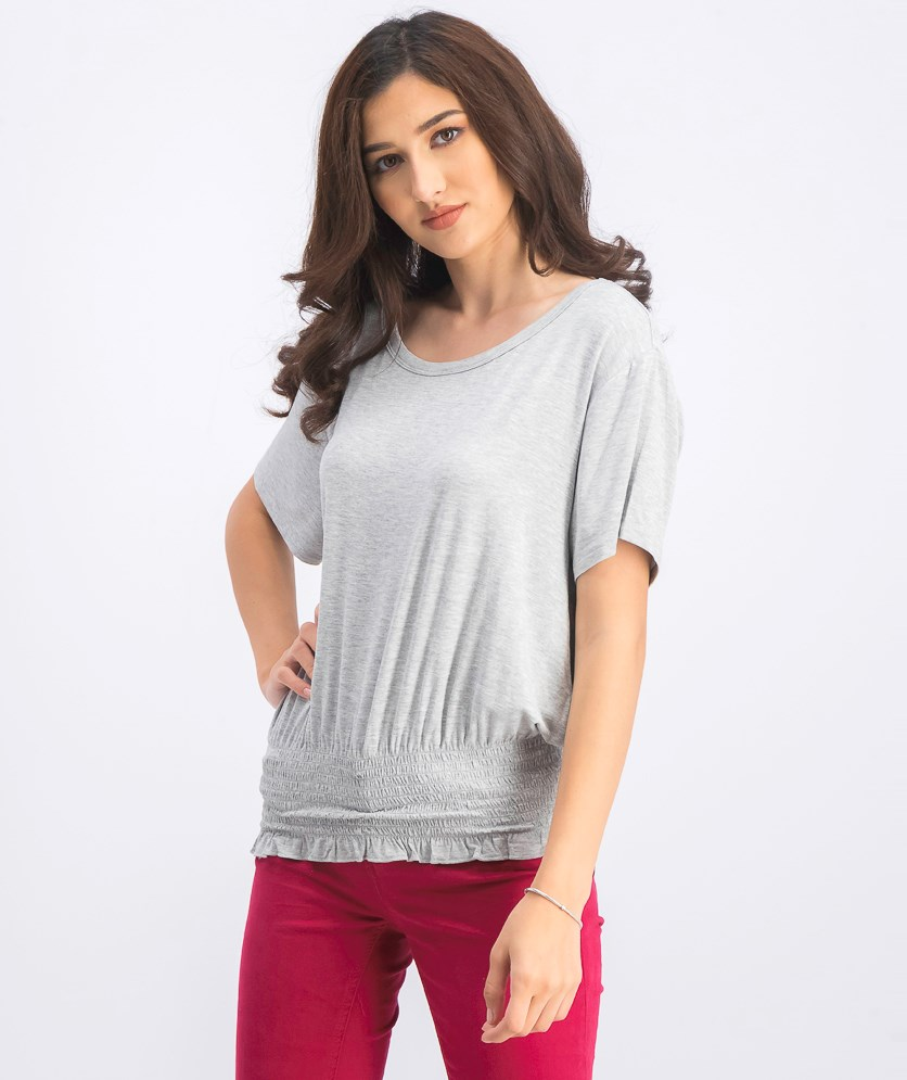 Women's Short Sleeve Top, Gray Heather
