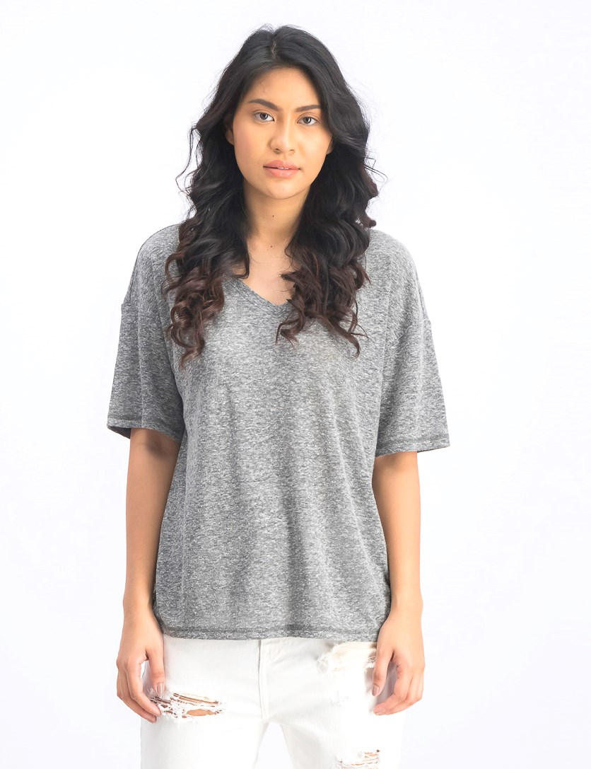 Women's V Neck Top Blouse, Charcoal