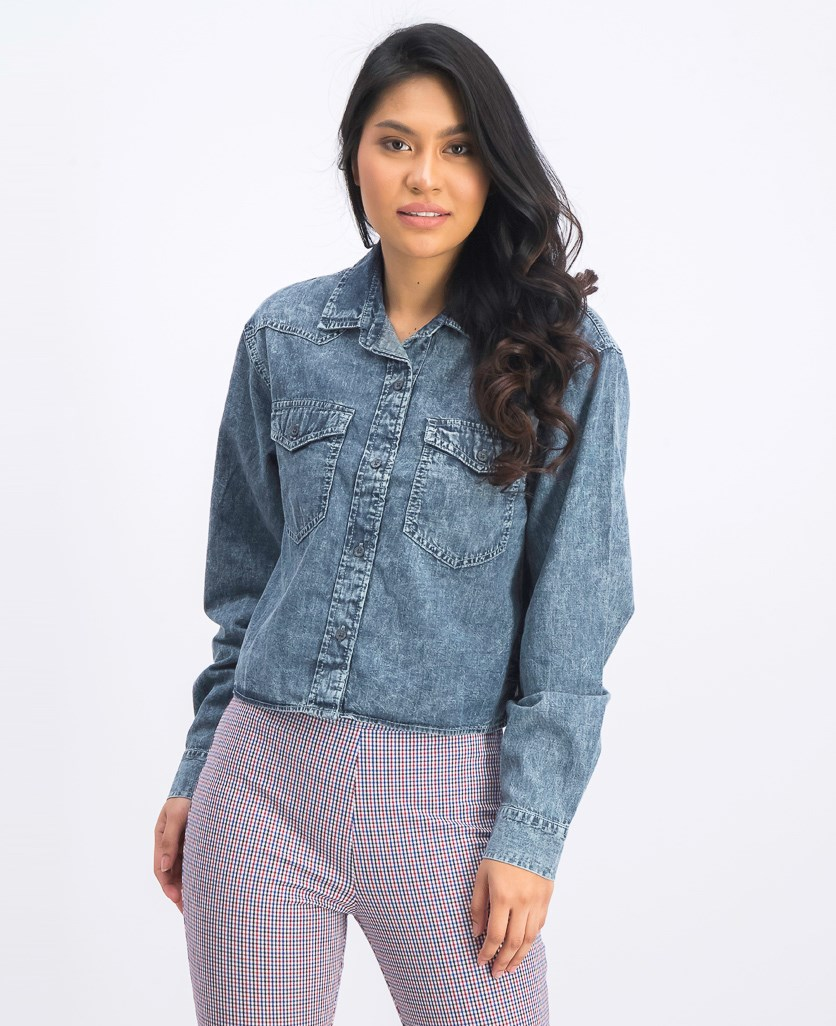Women's Denim Shirt, Wash Navy