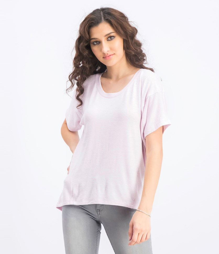 Women's Panel T-Shirt, Pale Pink