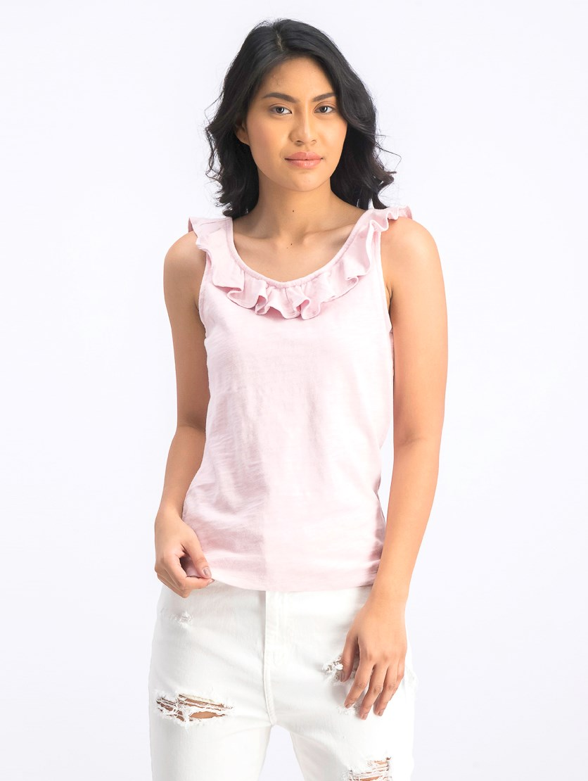 Women's Plain Ruffle Top, Pink