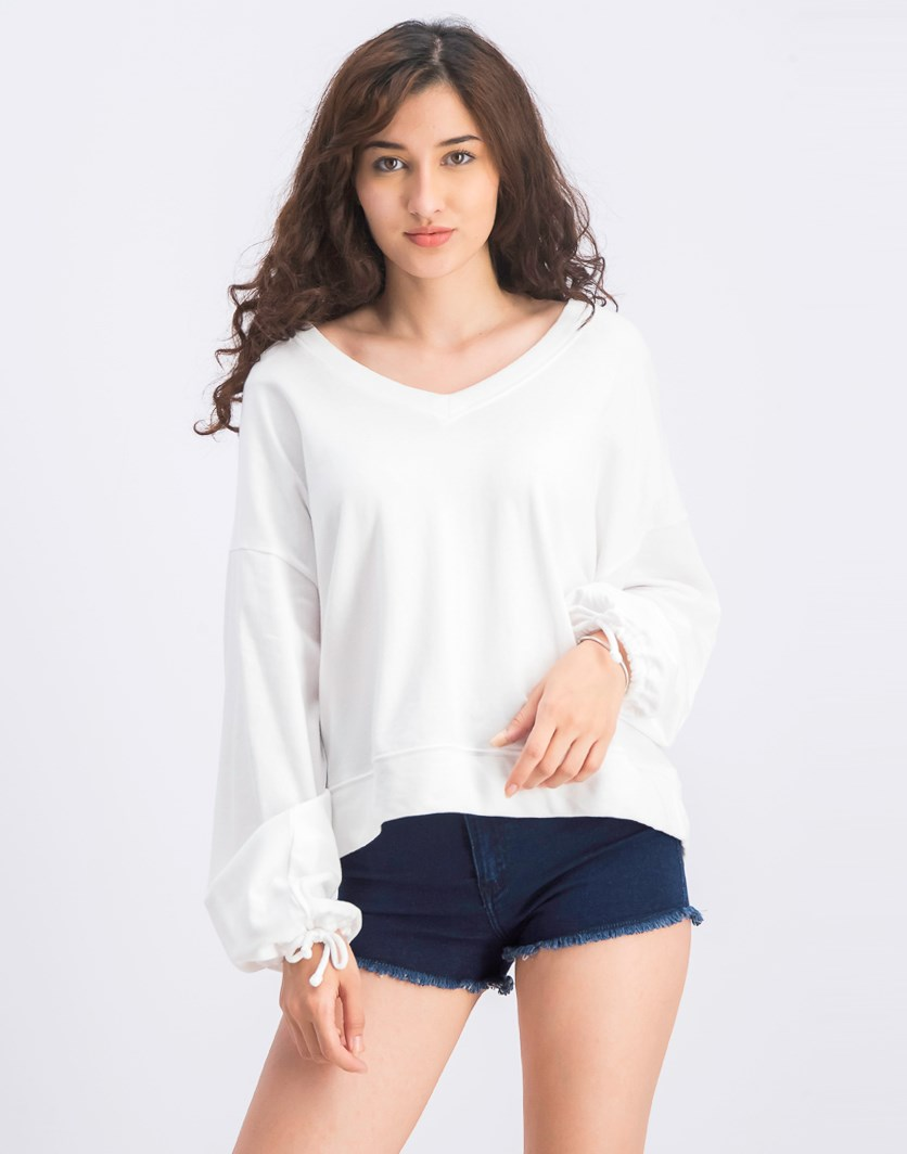 Women's Balloon Sleeve Pullover Sweatshirt, White