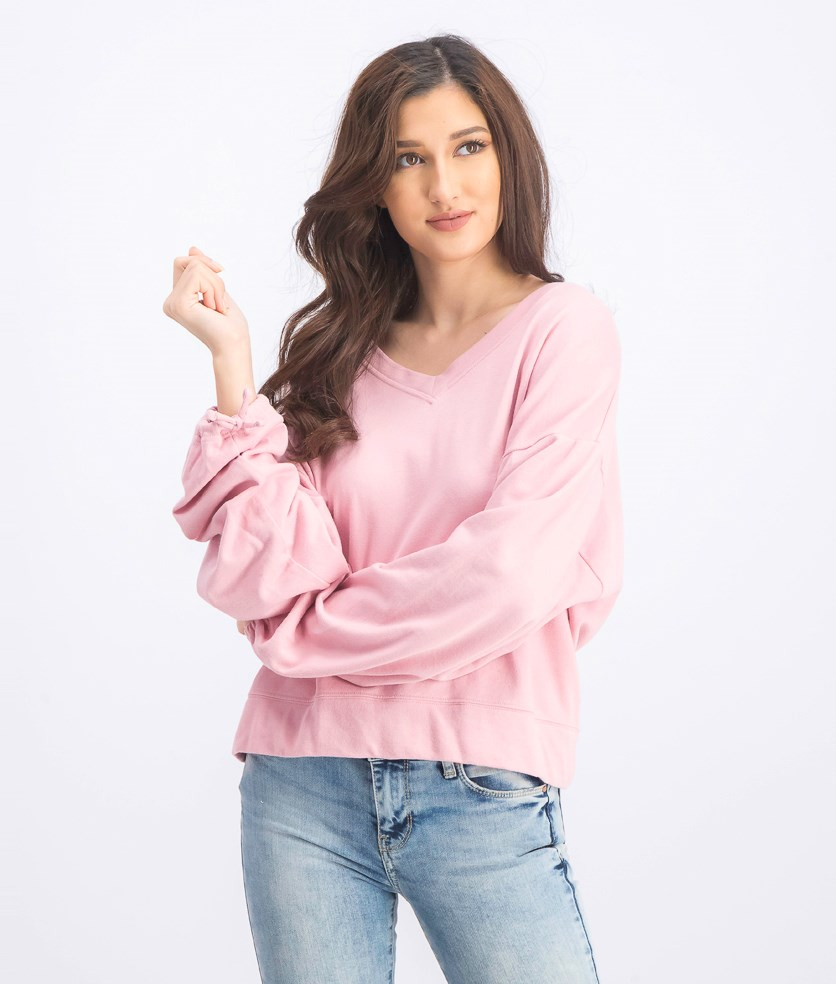 Women's Long Sleeve Sweater, Pink