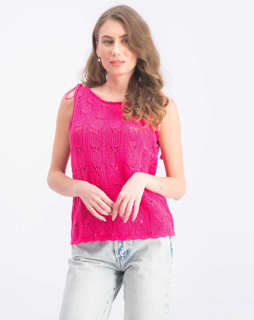 Women's Embroidered Top, Fuchsia Pink