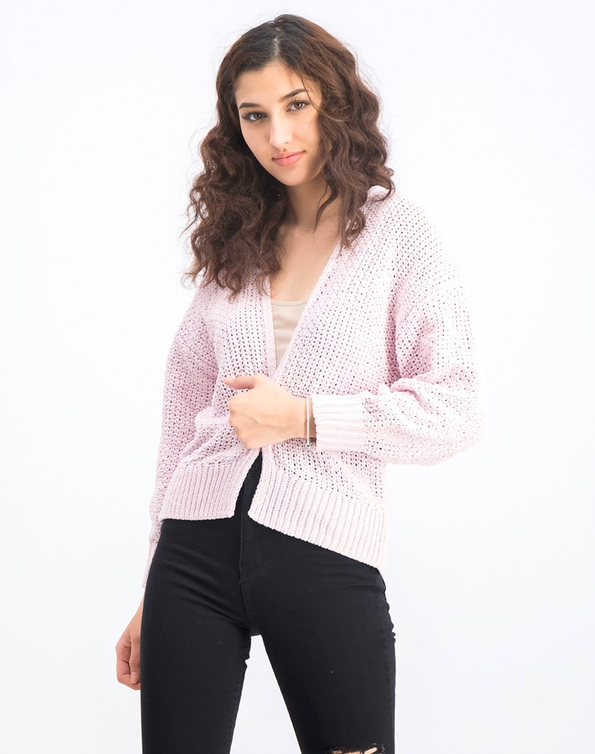 Women's Knit Long Sleeve Open Front Sweater, Light Pink