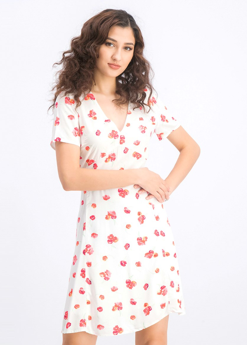 Women's Floral Dress, Ivory Combo