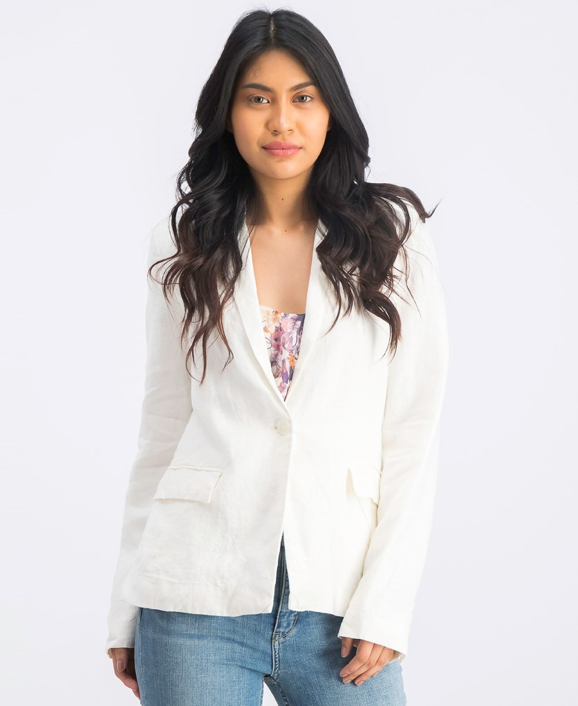 Women's One Button Blazer, Cream
