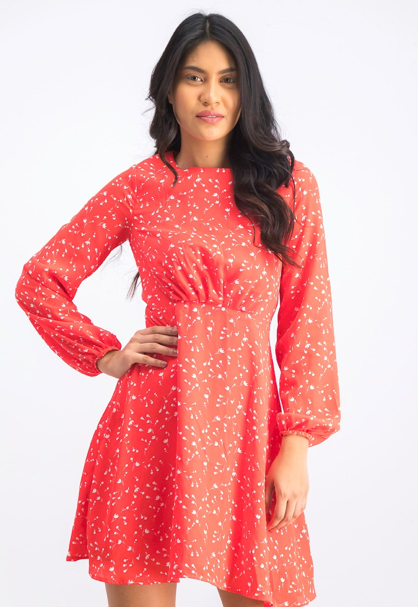 Women's Floral A Line Dresses, Orange