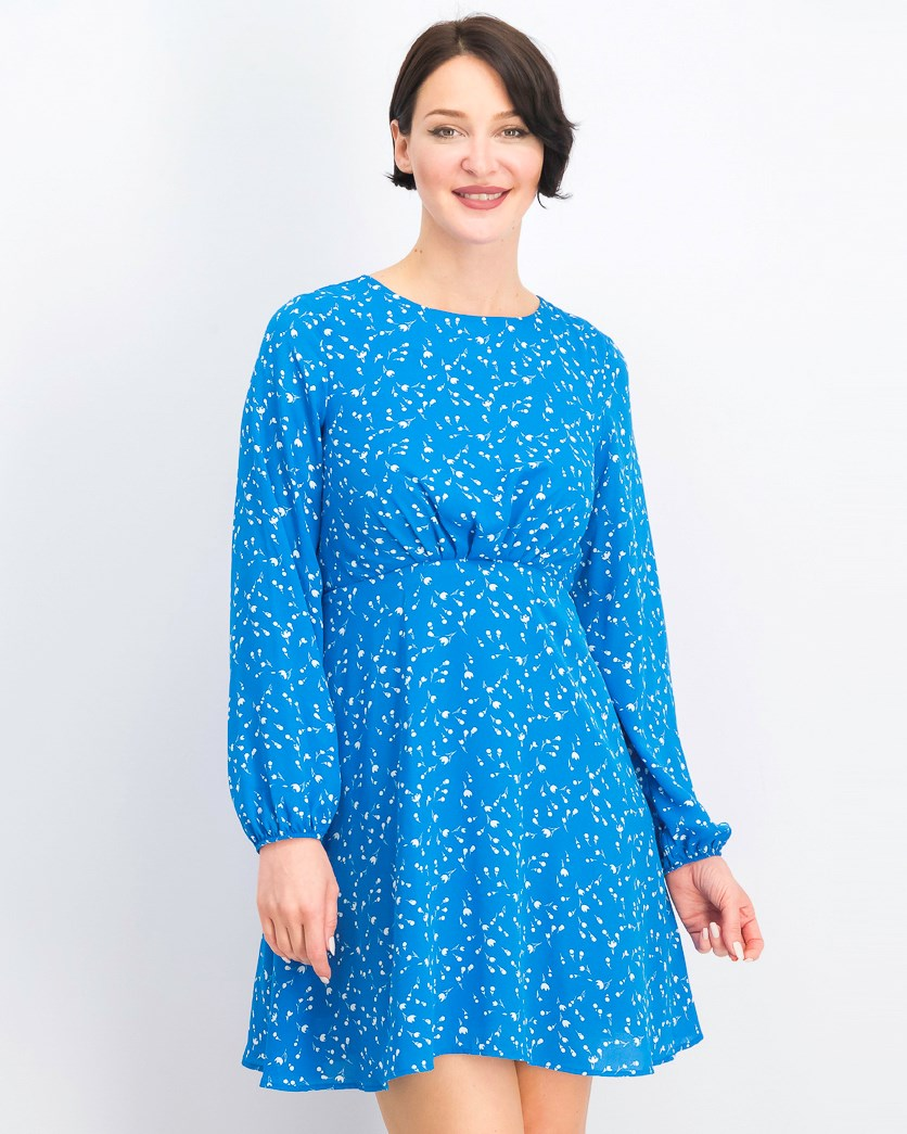 Women's Long Sleeve A Line Dress, Blue