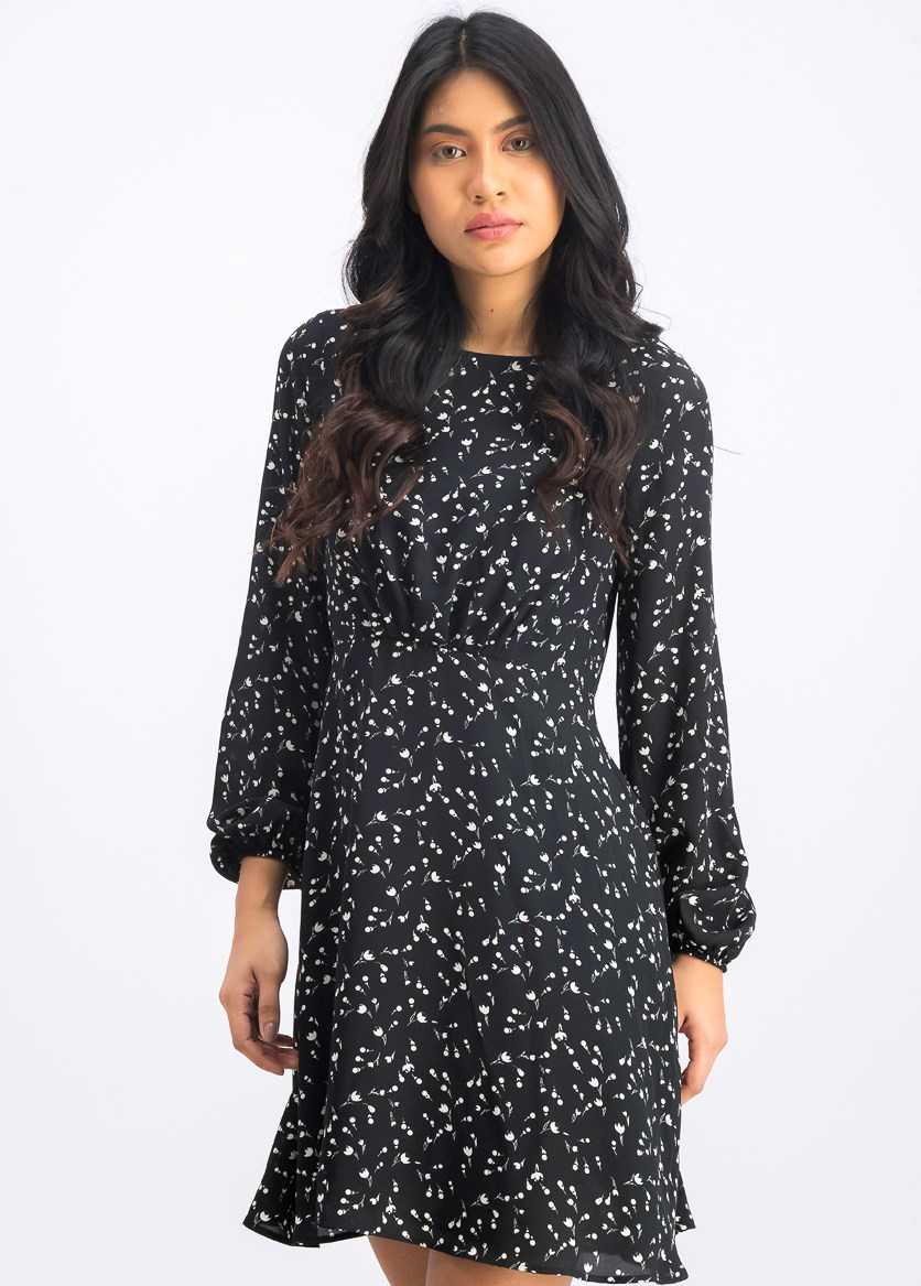 Women's Long Sleeve A line Dress, Black/White