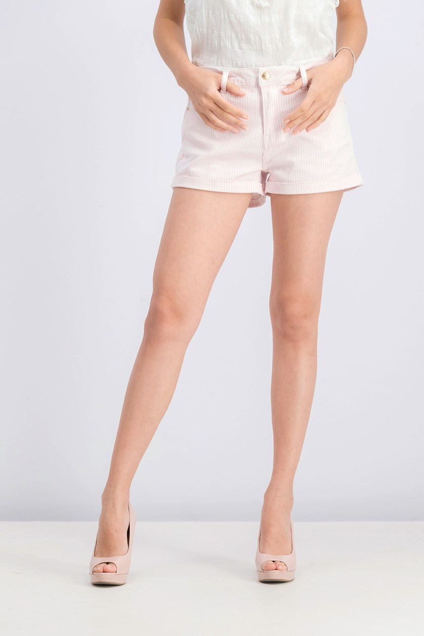 Women's Stripe Short, Pink/White