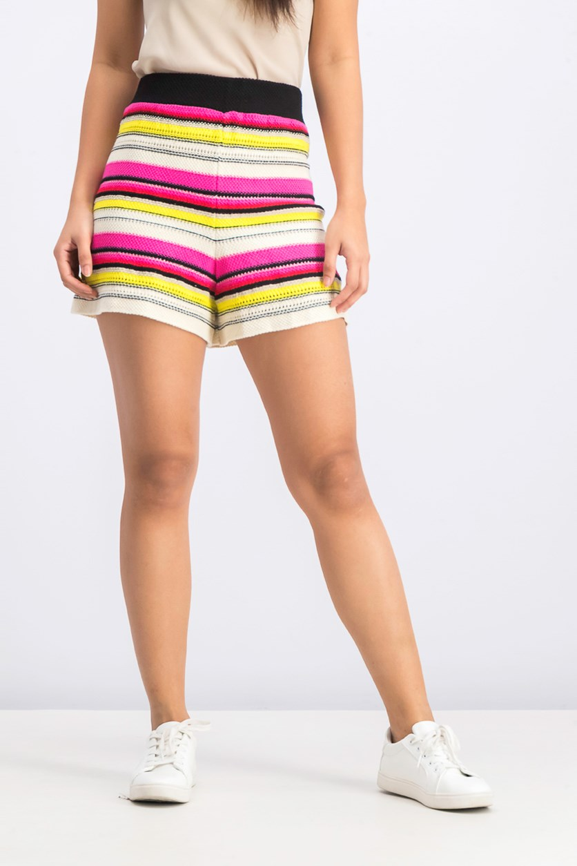 Women's Embroidered Stripe Short, Pink/Black/Yellow Combo