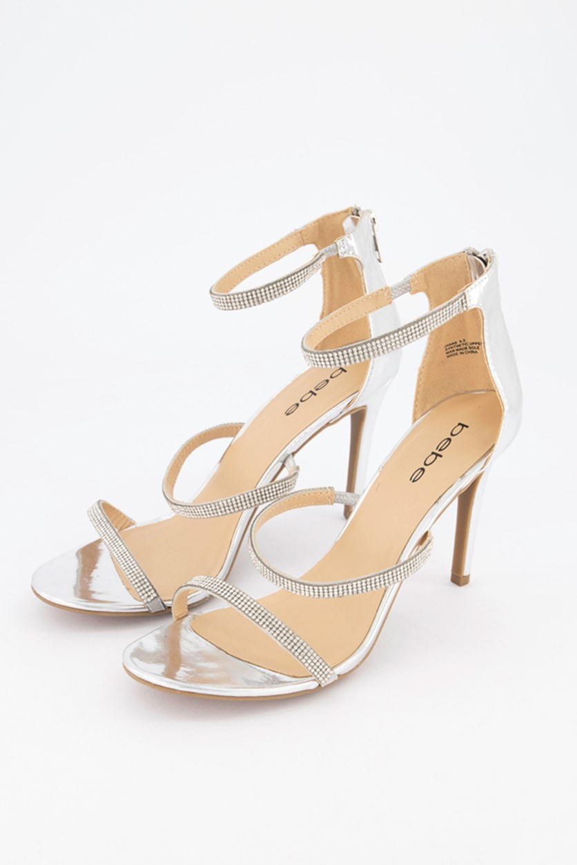 Womens Janae Open Toe Special Occasion Strappy Sandals, Silver