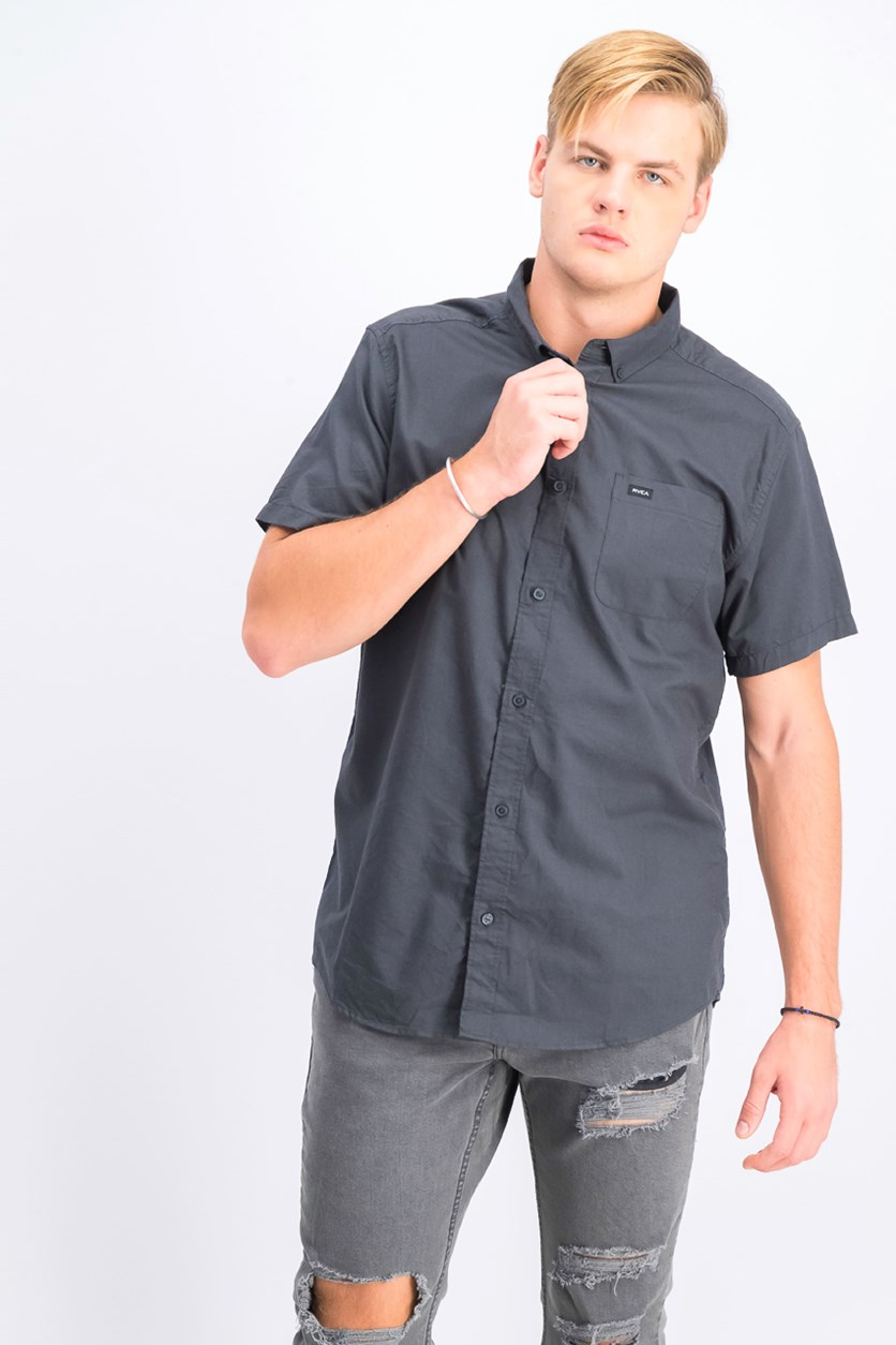 Men's Oxford Short Sleeve Button Down Shirt, Charcoal