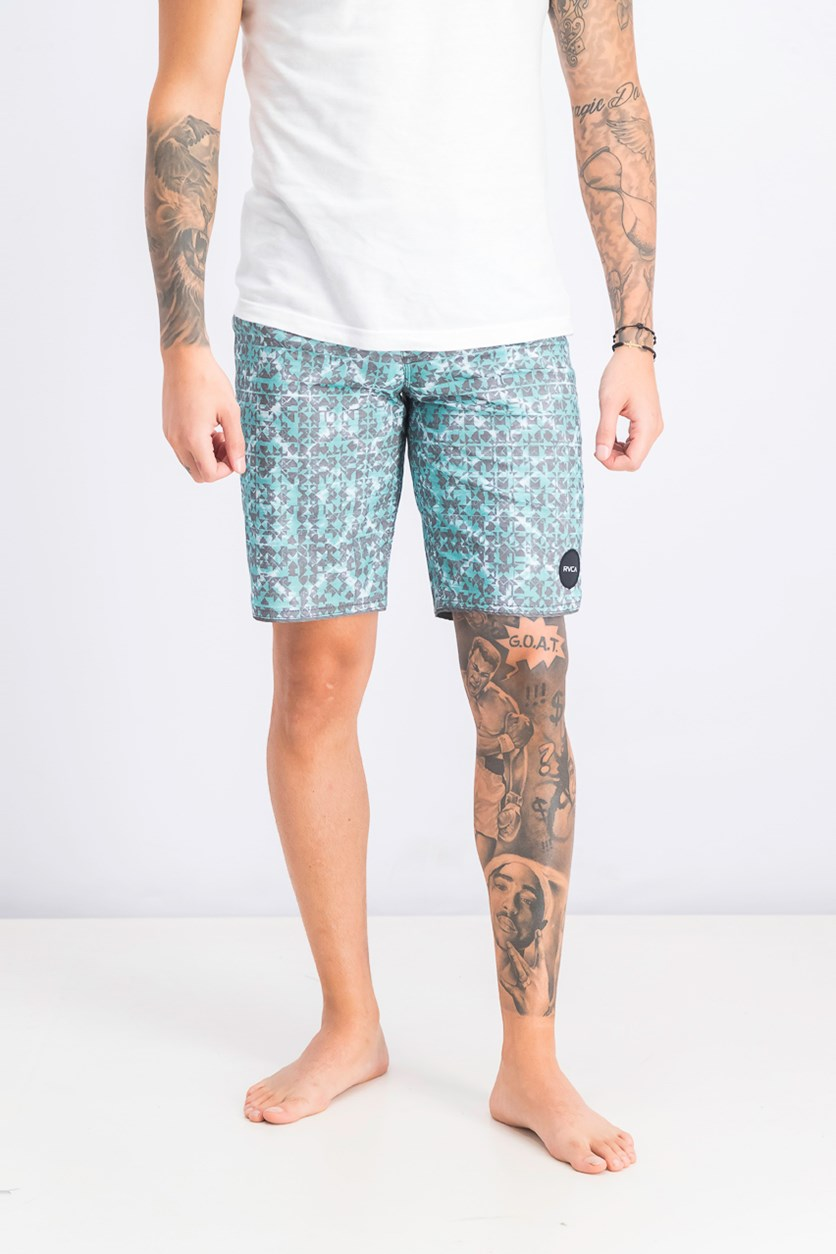 Men's Sanur Trunk, Light Teal/Gray