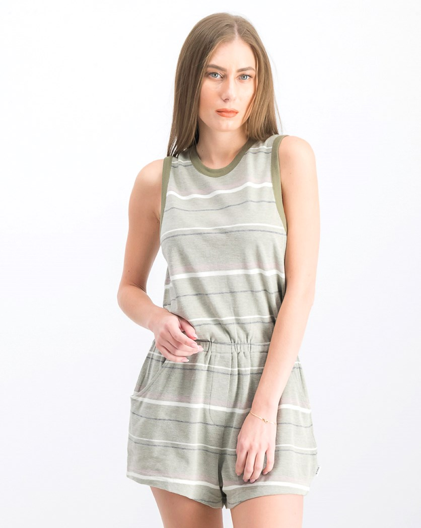 Women's Striped Playsuit, Olive Combo