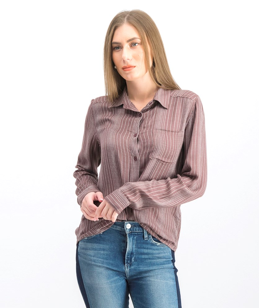 Women's Denver Woven Long Sleeve Shirt, Raisin