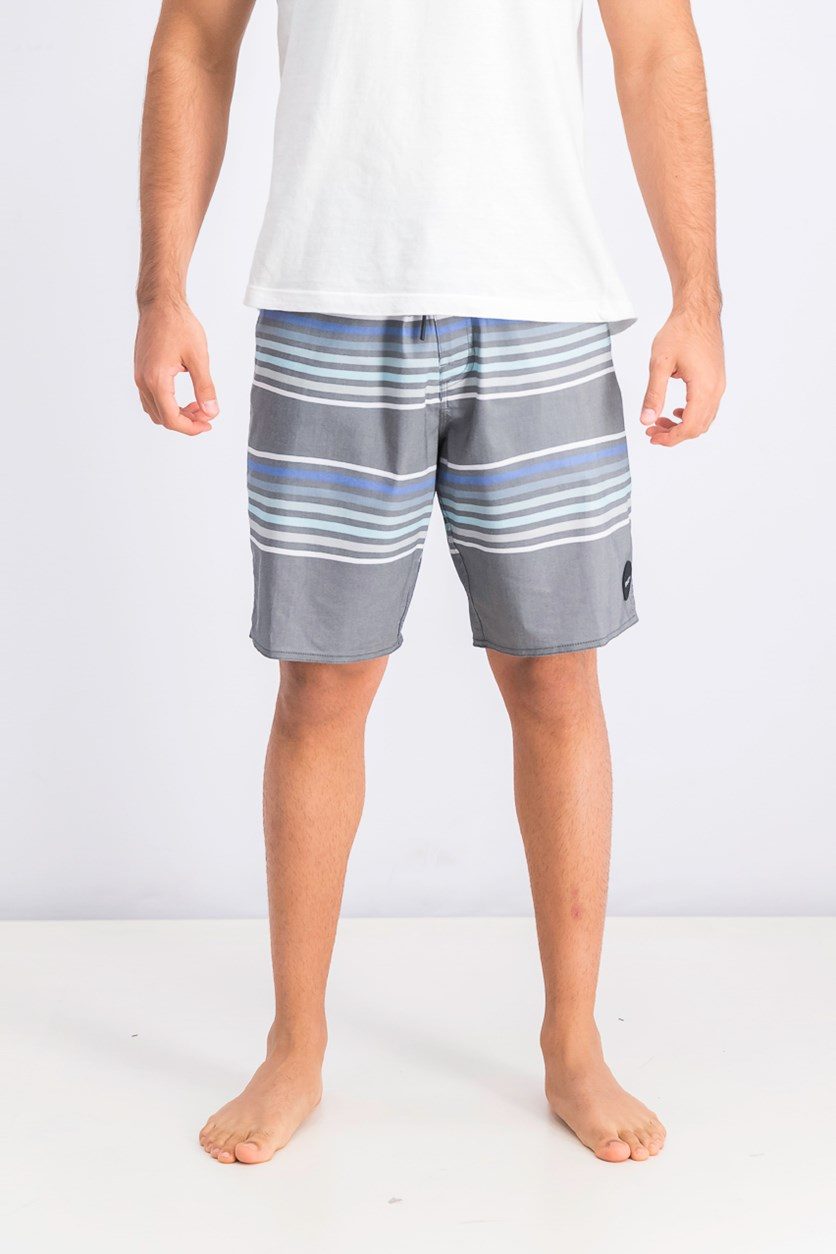 Men's Board Short, Grey/White/Blue