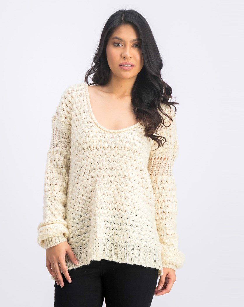 Women's Open Knit Long Sleeve Pullover Sweater, Cream