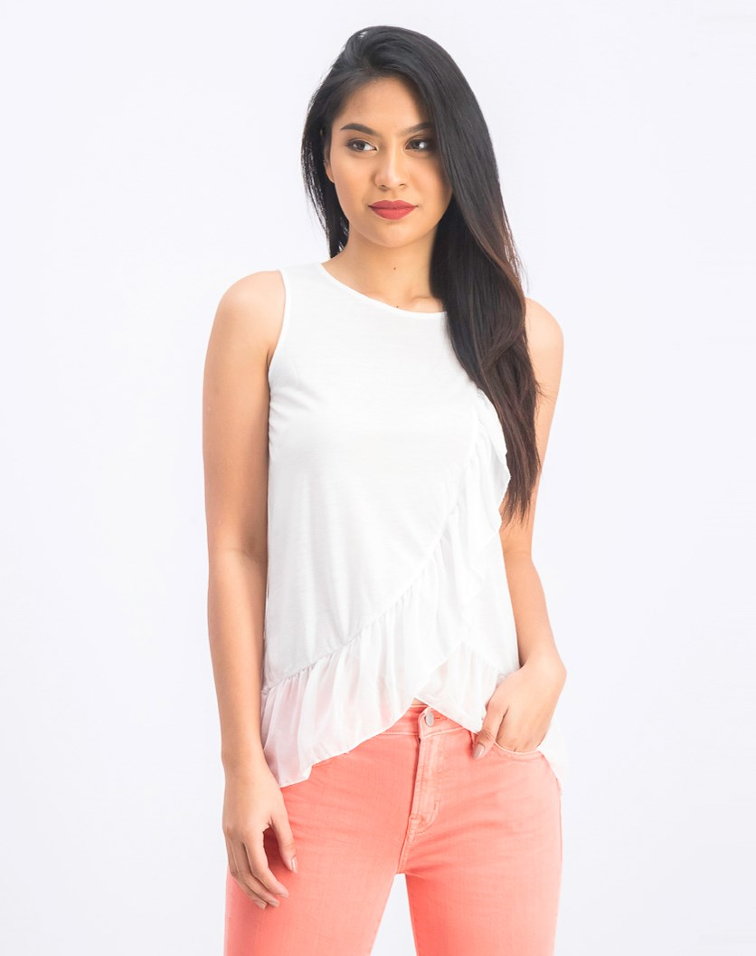 Layered Ruffle Tank Top, White