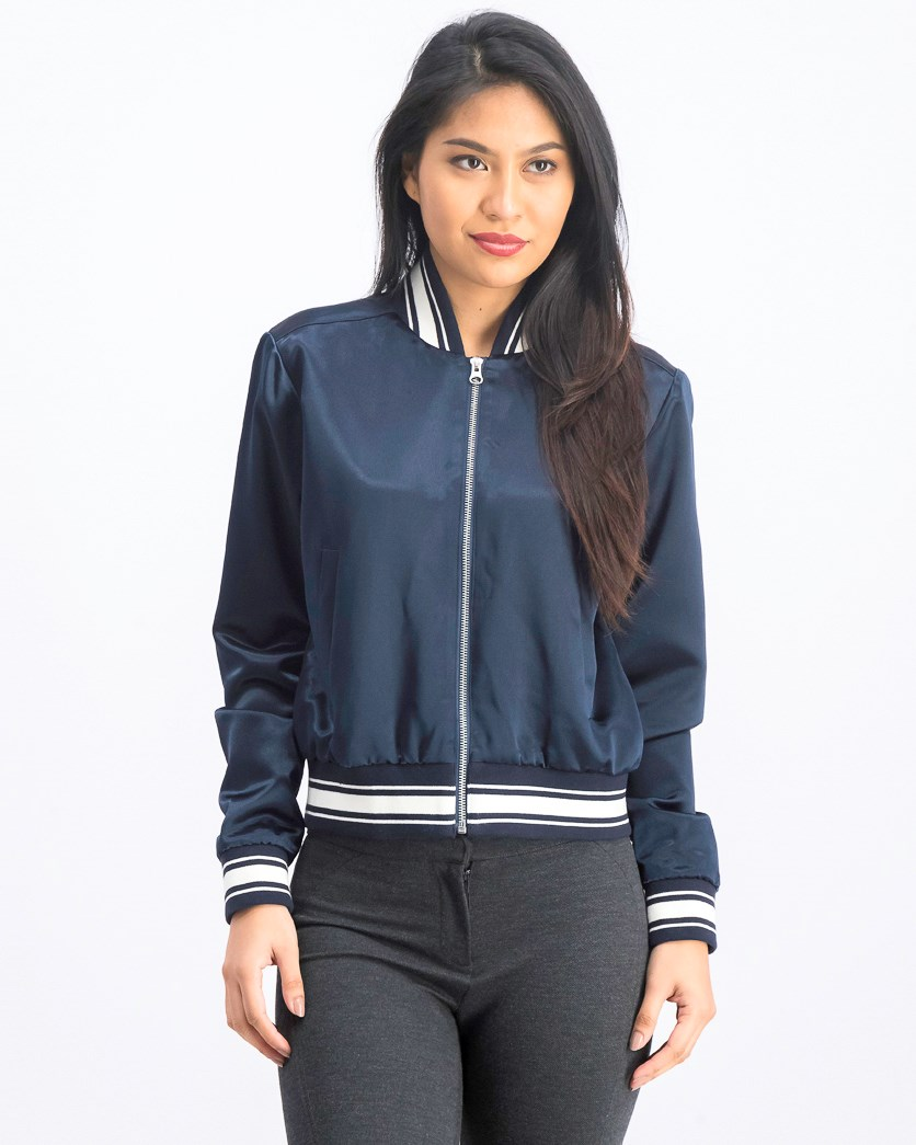 Women's Varsity Satin Bomber Jacket, Navy