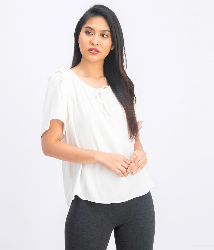 Womens Ruffled Tie-Neck Pullover Top, Off White