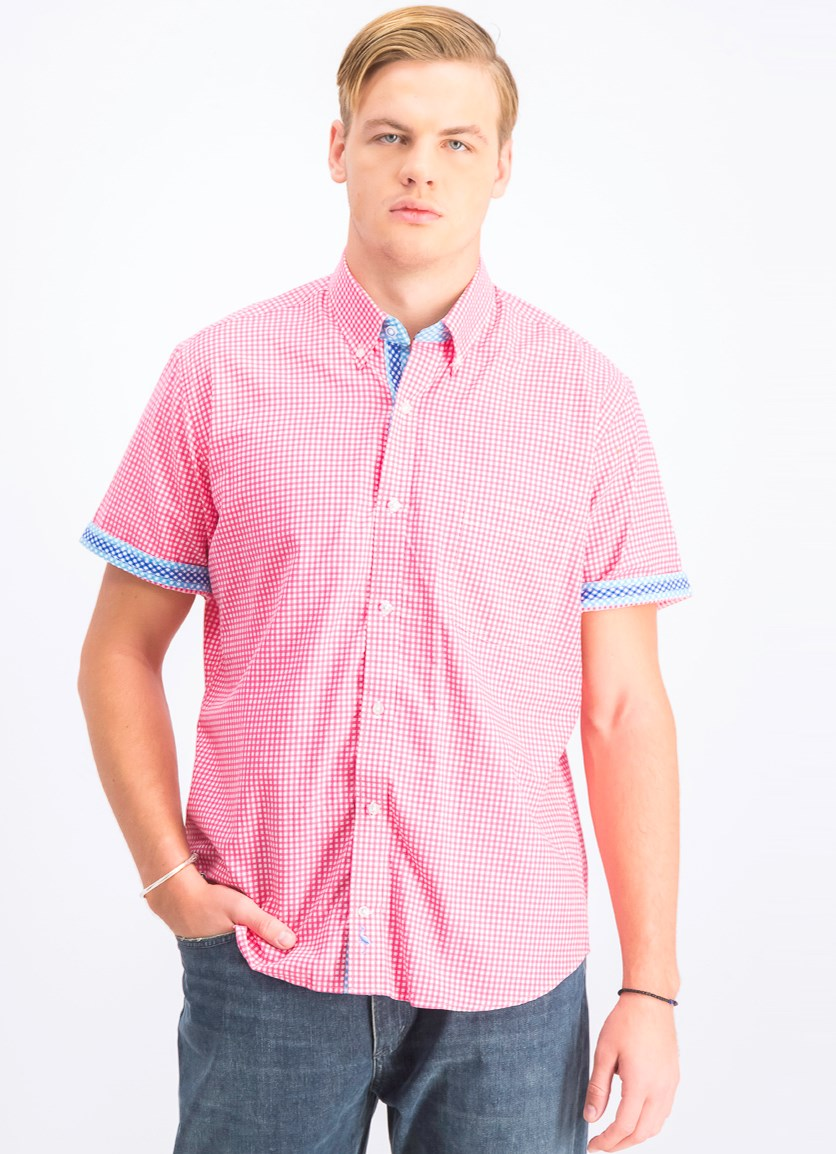Men's Short Sleeve Checkered Shirt, Coral