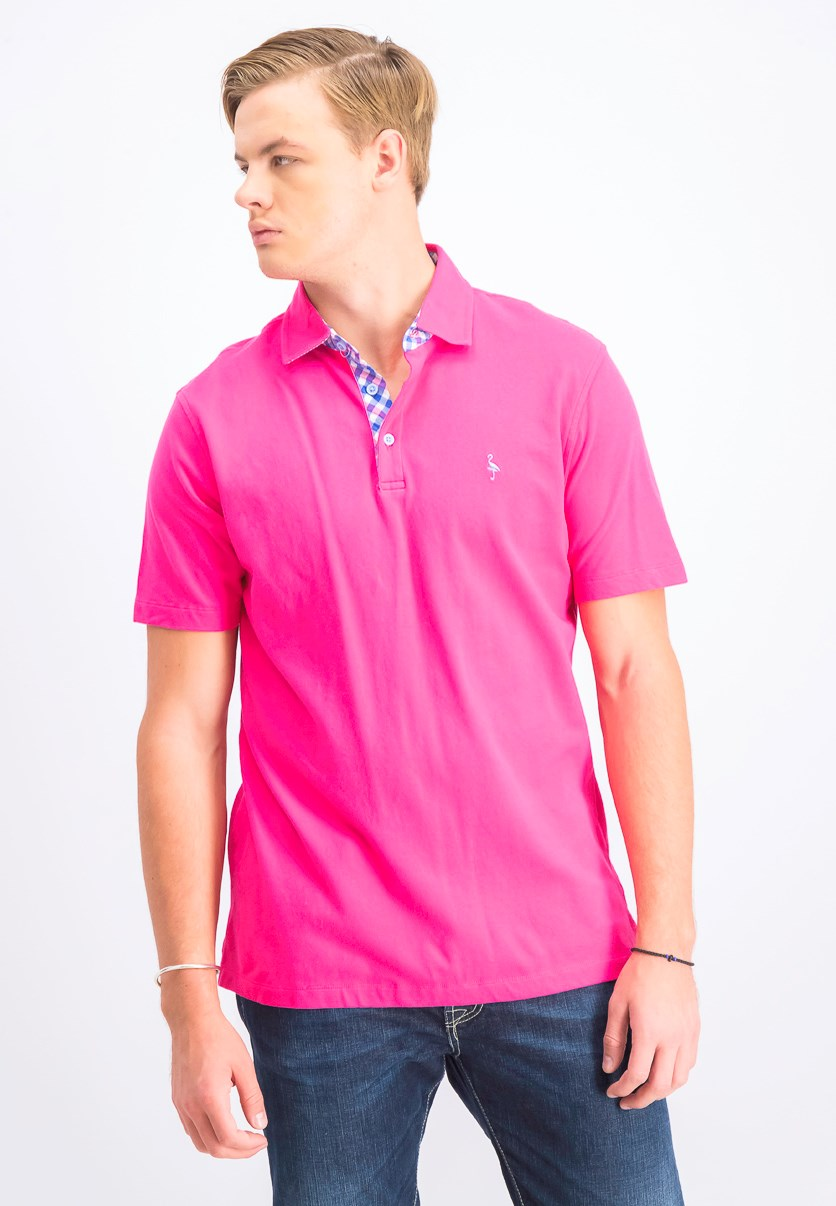 Men's Undercollar Polo, Fuschia