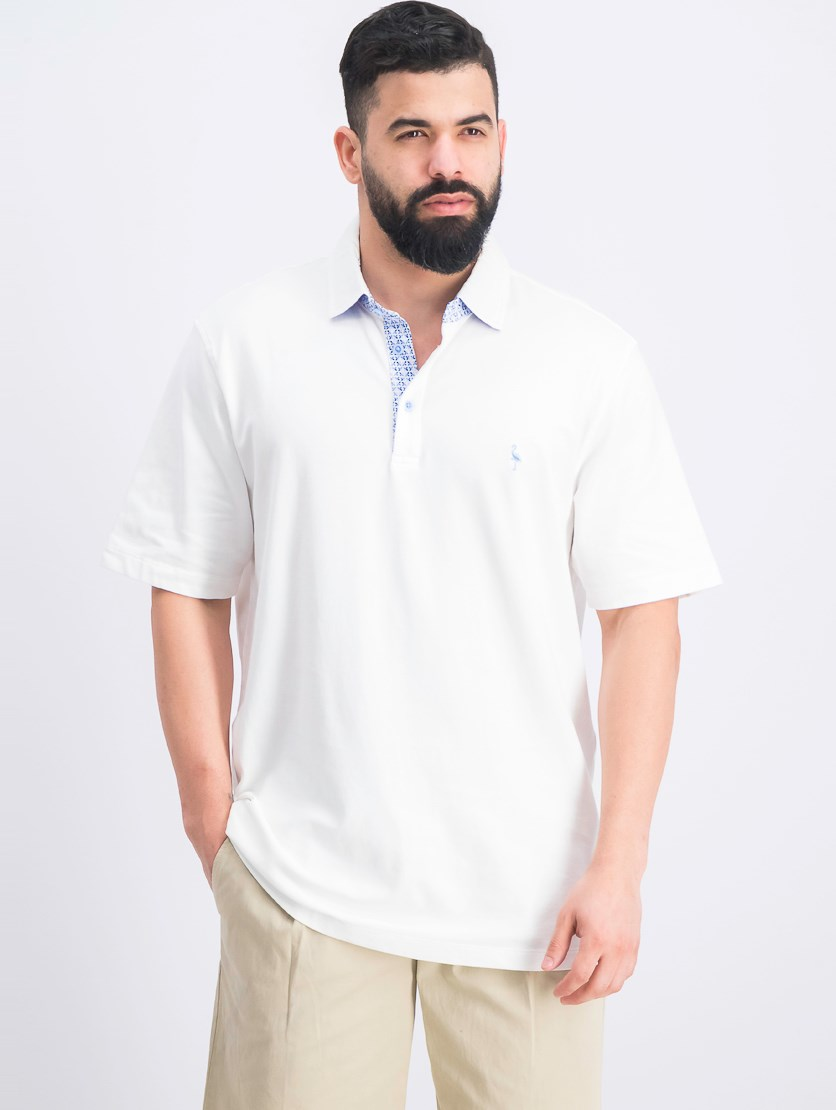 Men's Contrast-Placket Polo Shirt, White