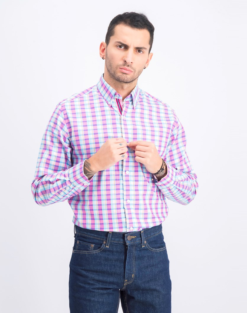 Men's Long Sleeve Shirt, Turquoise/Fuschia