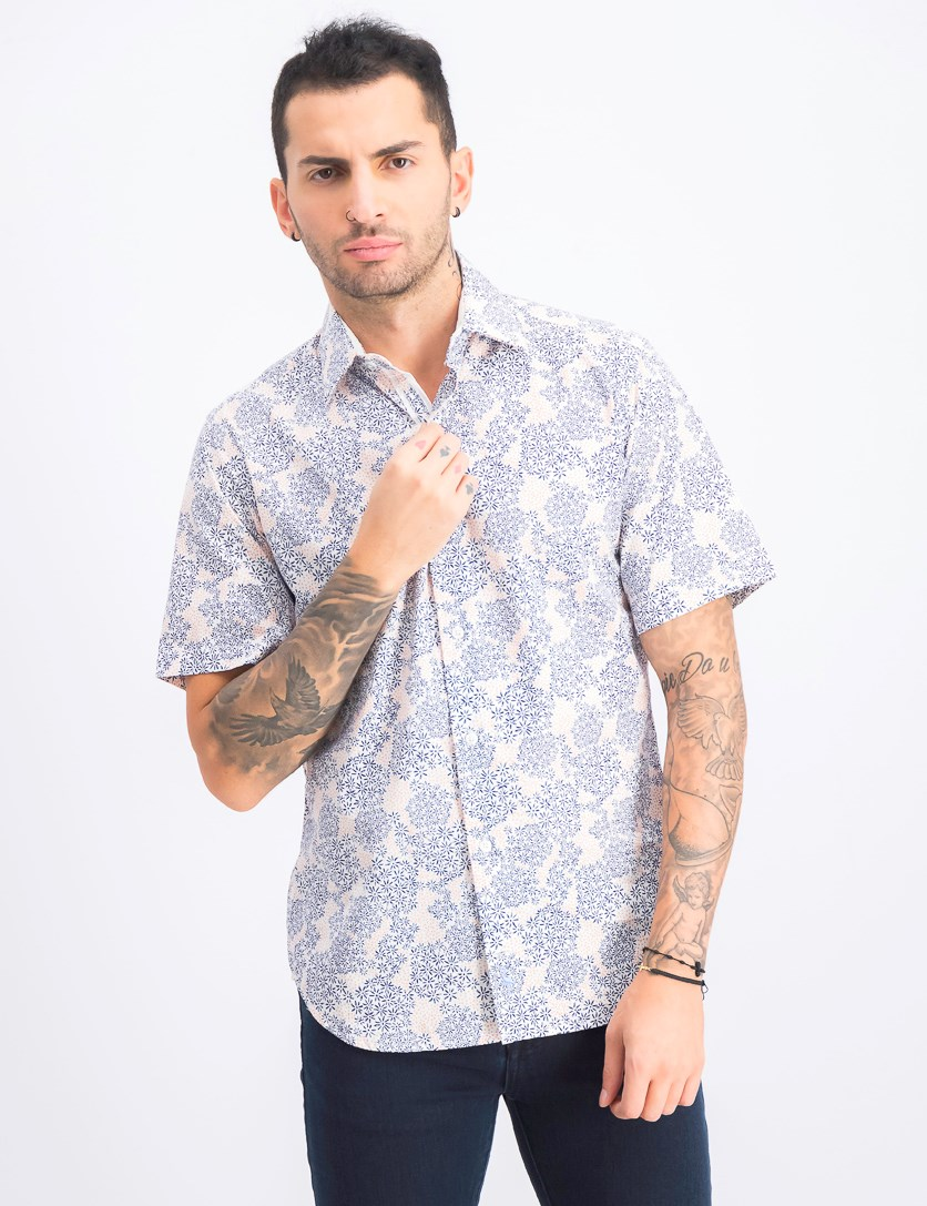 Men's Printed Short Sleeve Shirt, Navy Combo