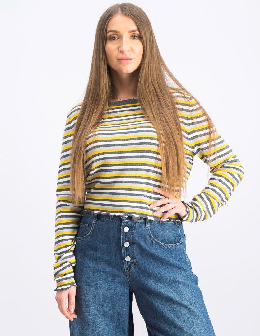 Women's Stripe Pullover Sweater, Gray/Yellow Combo