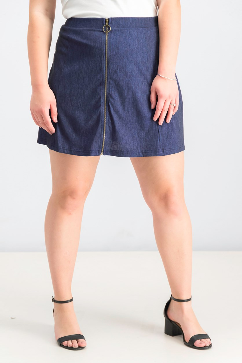 Juniors' Zip-Front Marled Skater Skirt, Dark Denim