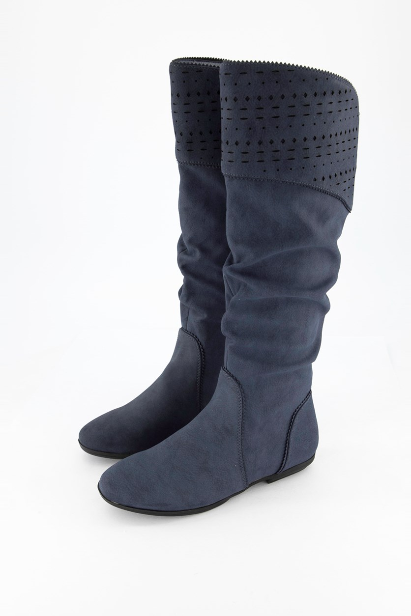 Women's Dillon Suede Closed Toe Knee High Fashion Boots, Navy