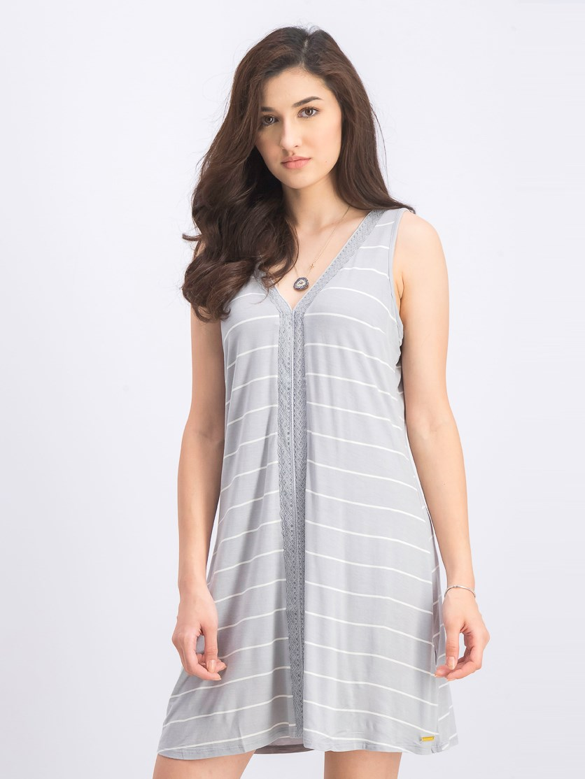 Women's Sleeveless V-Neck Chemise, Stripe Grey