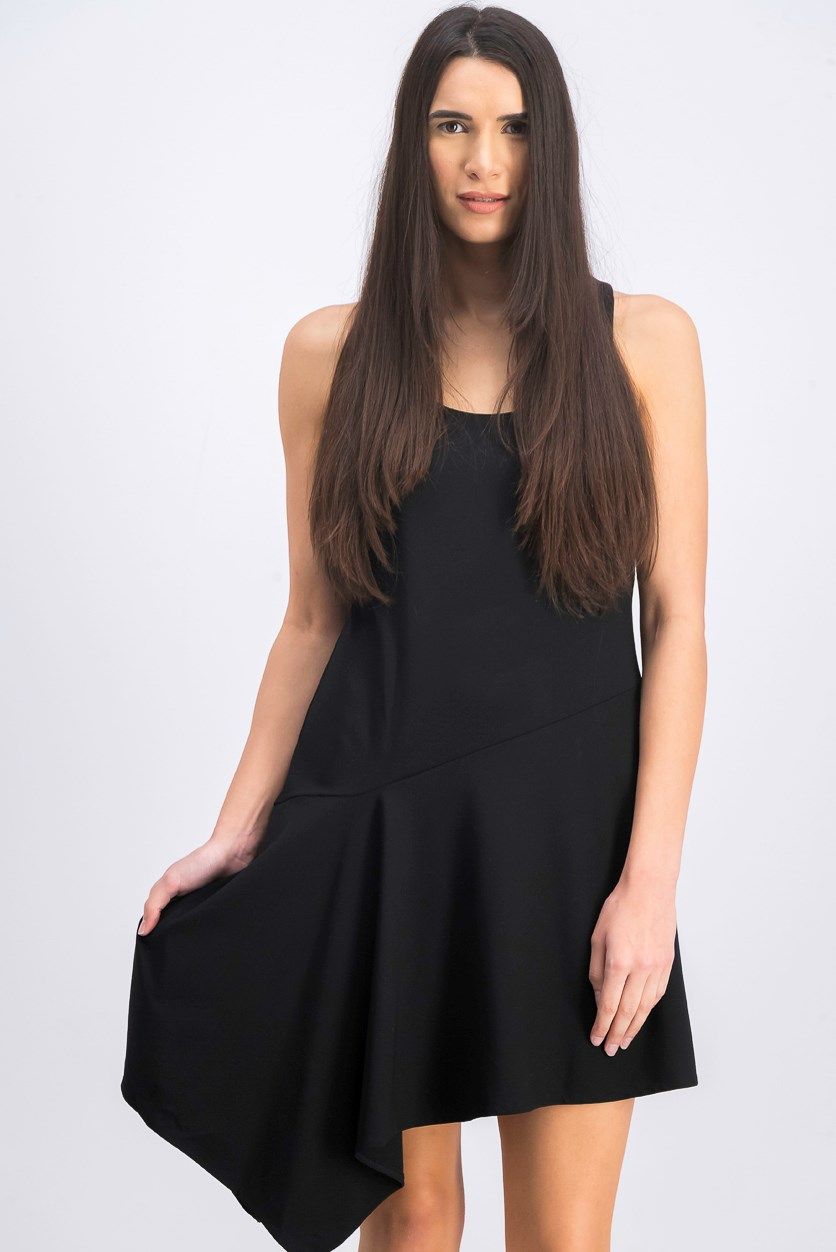 Asymmetric-Hem Ribbed Jersey Dress, Black