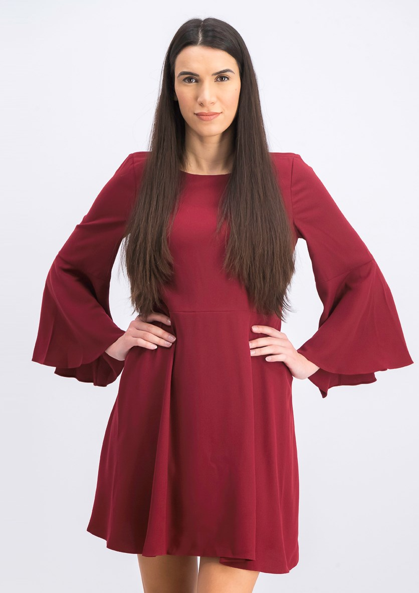 Flowy Long Sleeve Boat-neck Dress, Burgundy