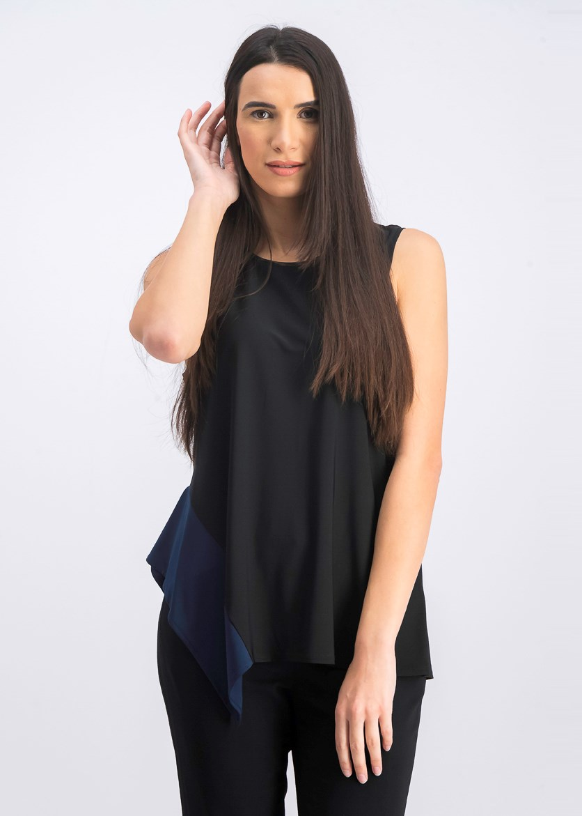 Women's Sleeveless Asymmetric Hem Top, Black