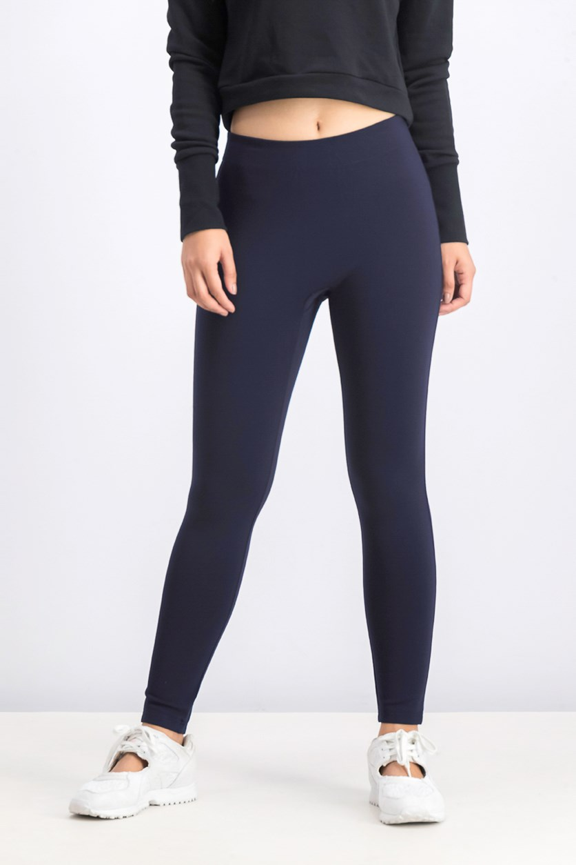 Slim Fit Ribbed Jersey Leggings, Navy