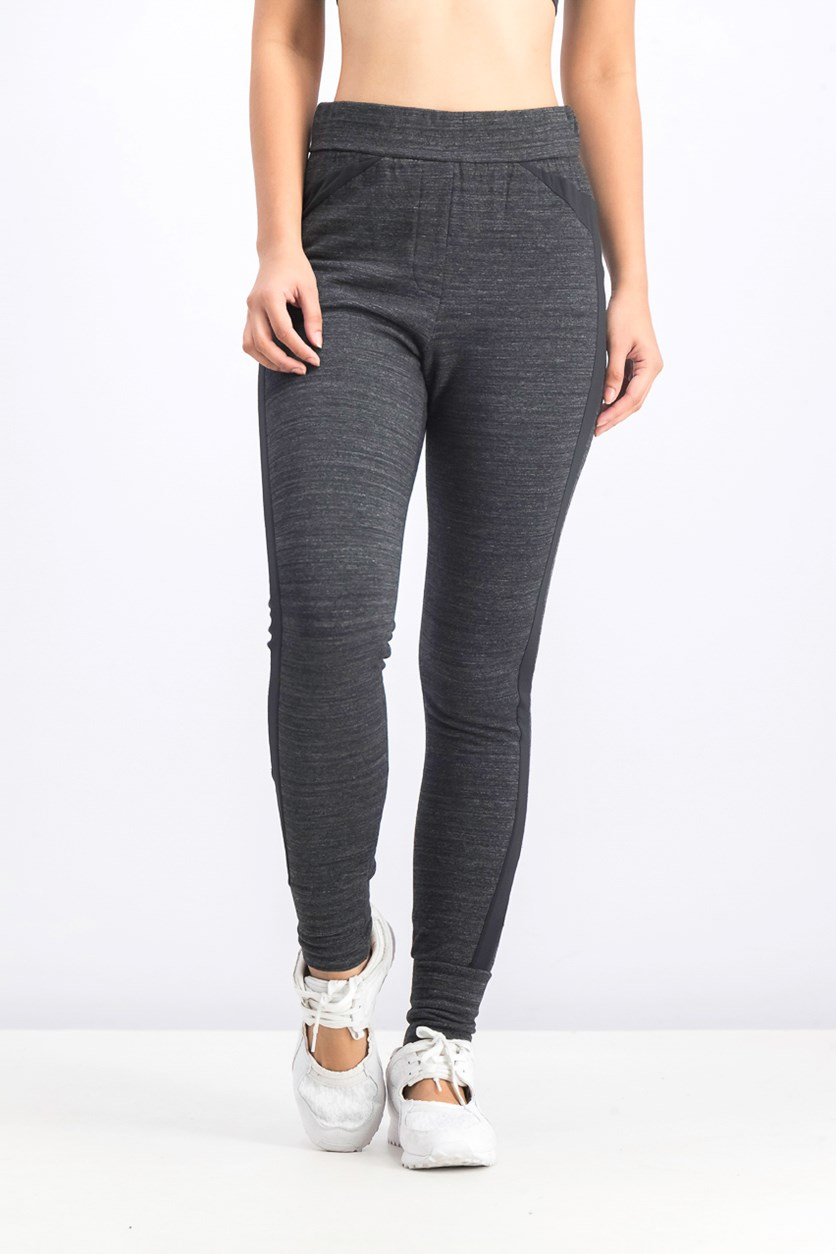 Women's Side-Striped Track Pants, Dark Grey Heather