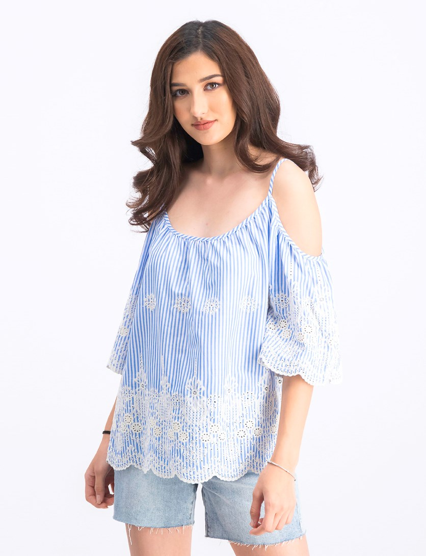 Pinstripe Eyelet Cold-Shoulder Top, White/Blue