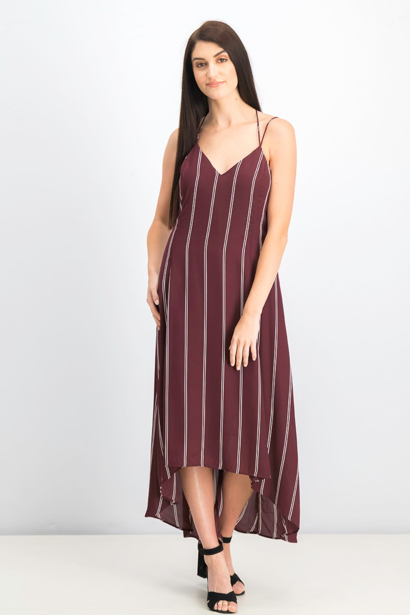 Women's V-Neck Stripe Sheath Dress, Maroon Cream