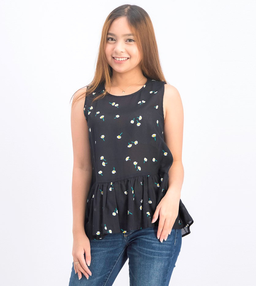 Womens Floral Print Blouse, Black