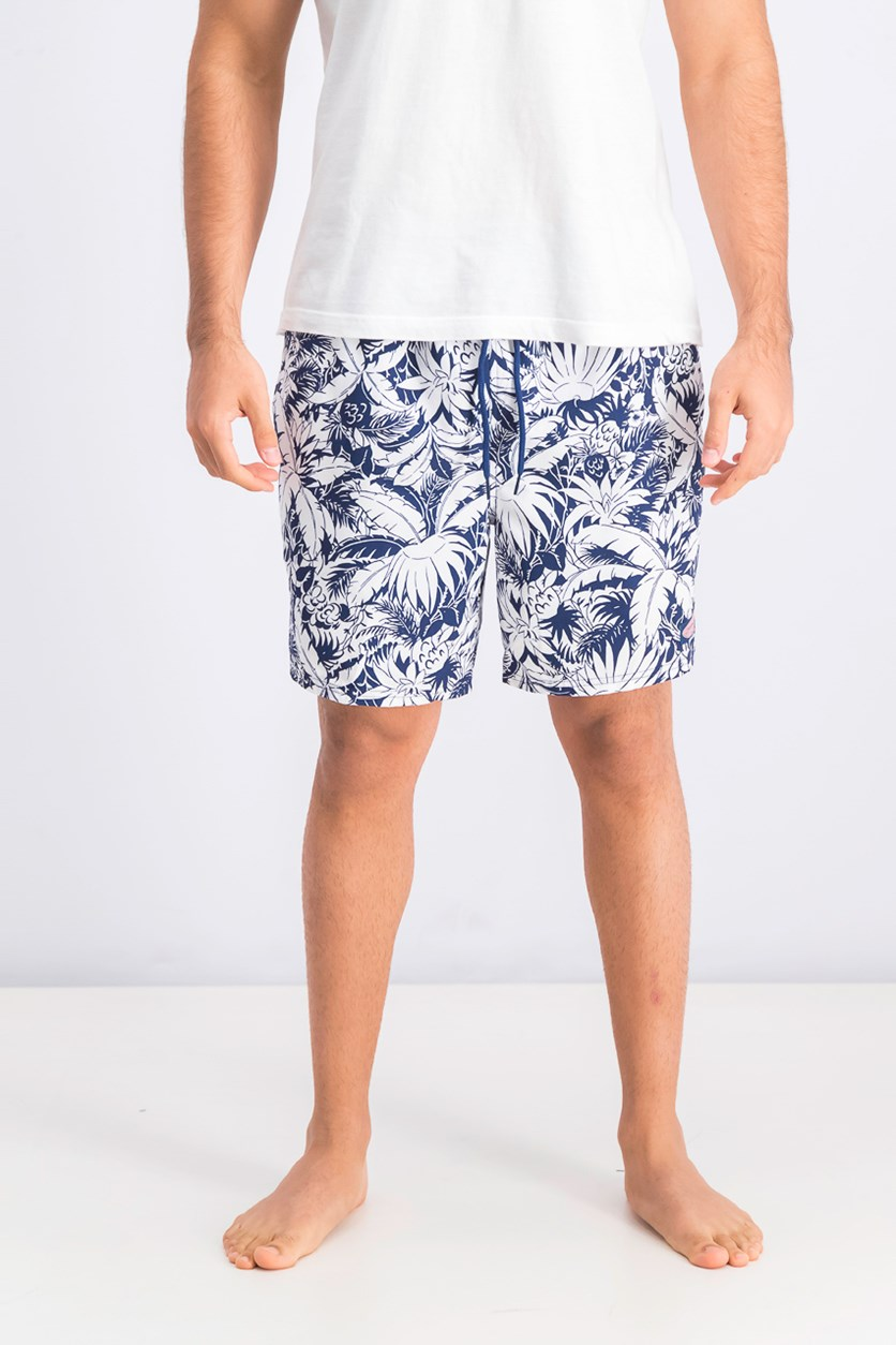 Men's Pineapple Palms Chappy Swim Trunks, Deep Bay