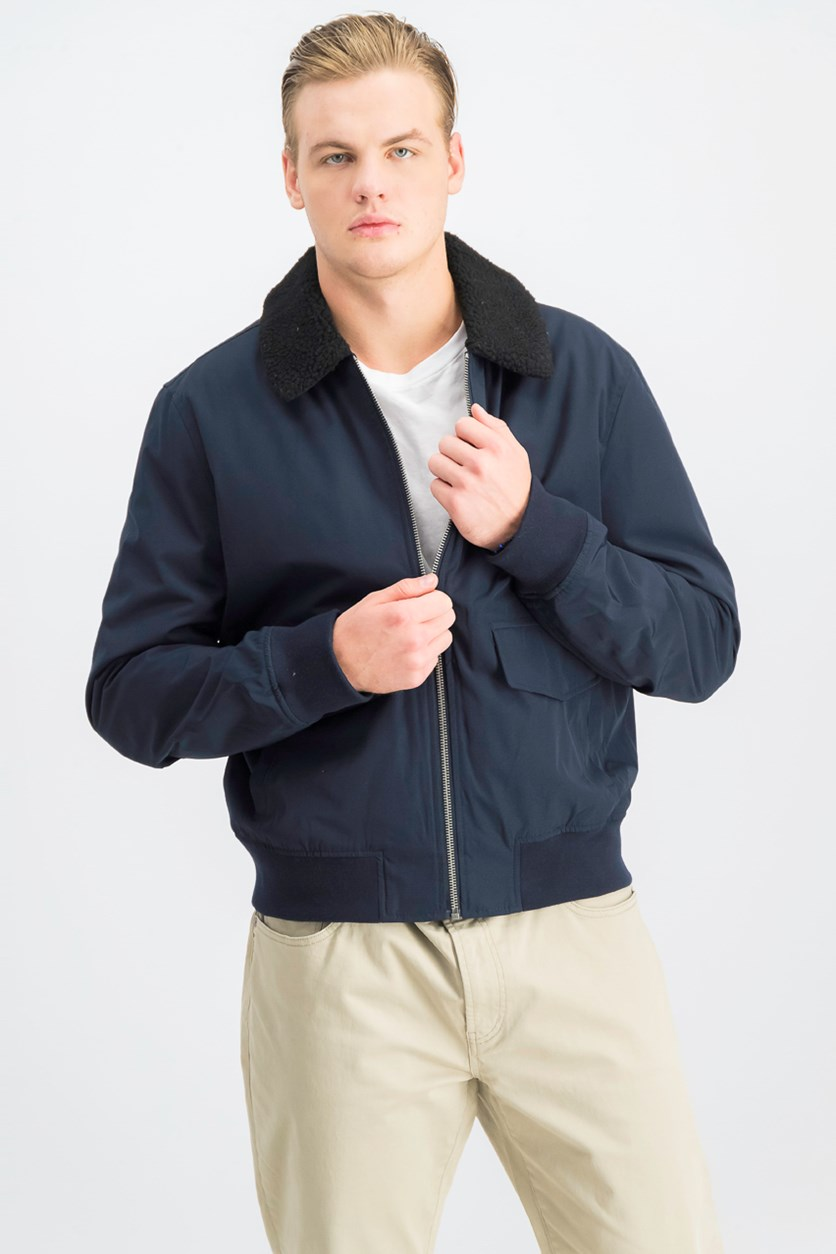 Men's Aviator Nylon Bomber Jacket, Navy